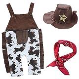 IEFIEL Pantalones de Peto Disfraces de Vaquero Conjuntos Algodón para Bebé Niño con Sombrero Pañuelo Marrón 6-12 Meses