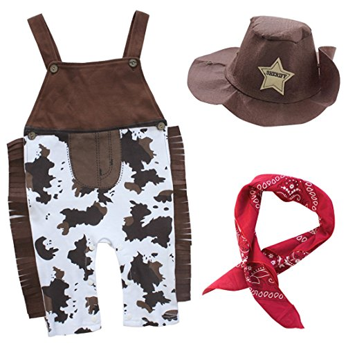 YiZYiF 3 PCS Bambino Neonato Cowboy Pagliaccetto Costume con Cappello Outfits Travestimento da Cowboy Cowgirl Fancy Dress Cosplay Carnevale Accessori per Festa Halloween Marrone 18-24 Mesi