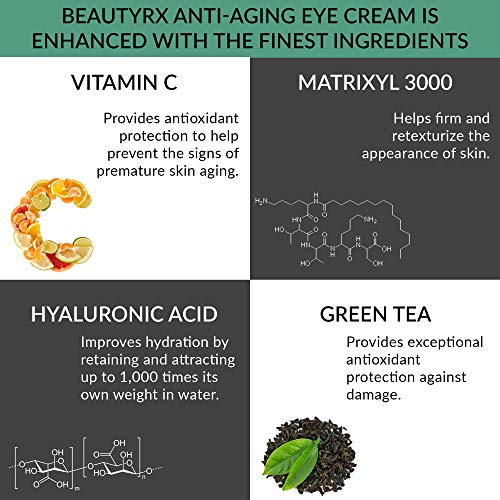 51MyplMK9iL - BeautyRx by Dr. Schultz Eye Cream for Dark Circles, Bags, Wrinkles & Puffiness. Best Firming Under & Around Eyes Anti-Aging & Moisturizing Treatment with Vitamin C, Hyaluronic Acid & Green Tea (1 oz)