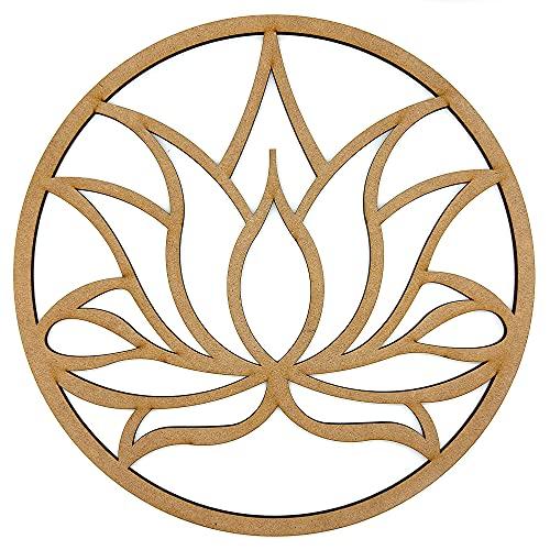 Cuadro Flor de Loto Madera Mandala decoración de pared, Geometría Sagrada Decoración del Hogar, regalo esotérico y espiritual 40cm