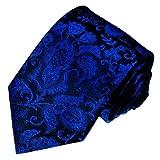 LORENZO CANA - Exclusive königsblaue Krawatte aus 100% Seide im Floraldesign mit Blättern handgefertigte Markenkrawatte - aus Deutschland - 36055