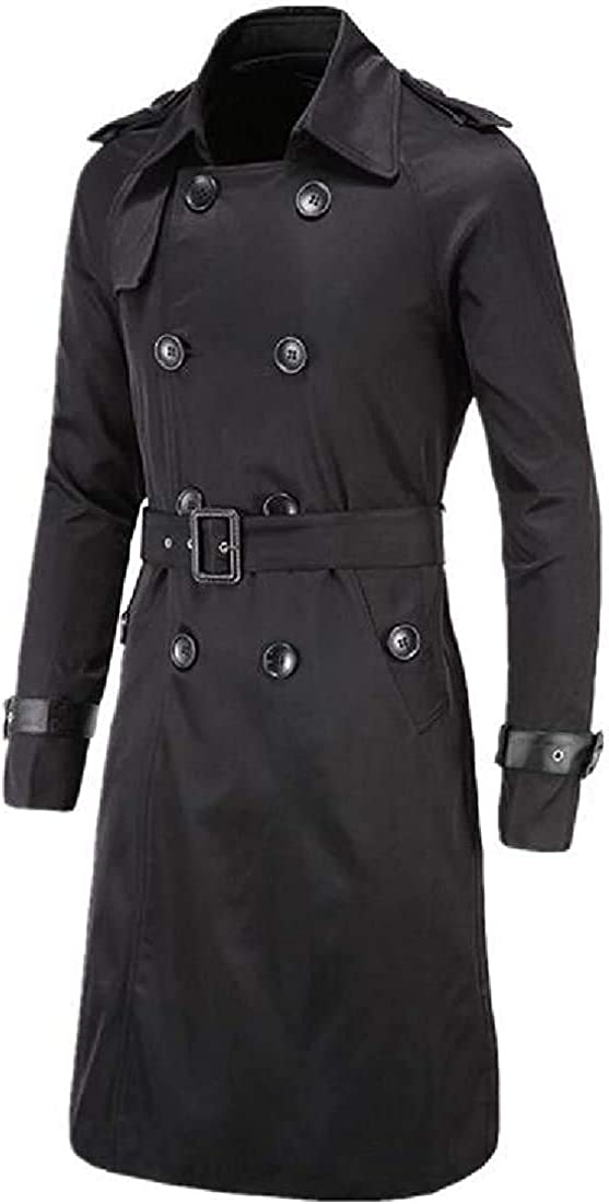 ALICE HENDERSON Men Double Breasted Belted Fall & Winter Mid Length Overcoat Trench Coat Jacket Overcoat