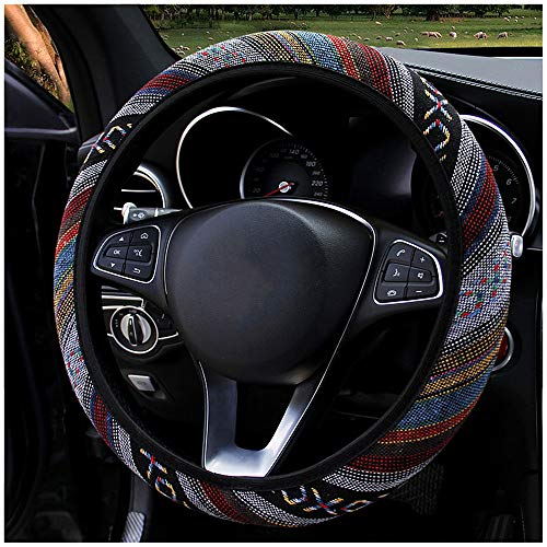 LABBYWAY Boho Steering Wheel Cover Universal Fit 15 inches, Coarse Flax Cloth, Anti-Slip Sweat Absorbent, for for SUVS,Vans,Trucks (Theme 4)