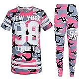 AHR LTD. Tuta per Bambine/Ragazze, Motivo Mimetico, Abbigliamento Sportivo/Jogger, Newyork 98, da 7 a 13 Anni - 11-12 Anni - Pink Camo 98