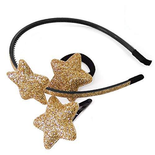 Set-802 – Lot de 3 accessoires pour cheveux fille avec étoile bombée à paillettes 4 cm – Serre-tête à paillettes 0,5 cm + élastique diamètre 3 cm + pince clic clac 5 cm (or)