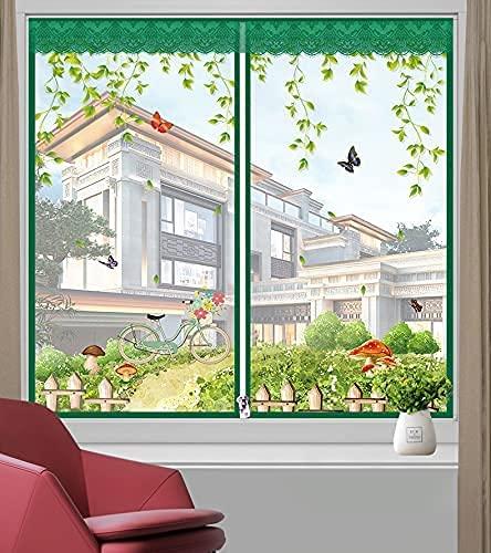 GuLL Zanzariera per finestra, finestra a rete anti-insetti, con magnete anti-zanzare, autoadesiva, senza forature, facile da installare (120 x 120 cm/47 x 47 pollici, casa da uomo verde)
