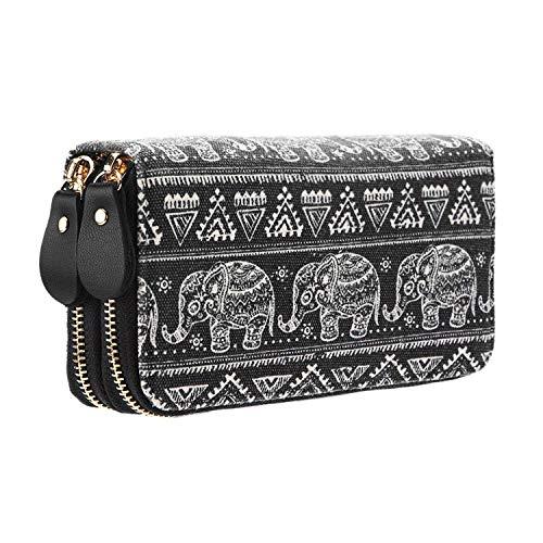 Très Chic Mailanda Geldtasche Geldbeutel Tasche Portemonnaie umlaufende Reißverschlüsse mit Design groß für Damen, Elefant Schwarz, 19.5 x 10 x 4 cm