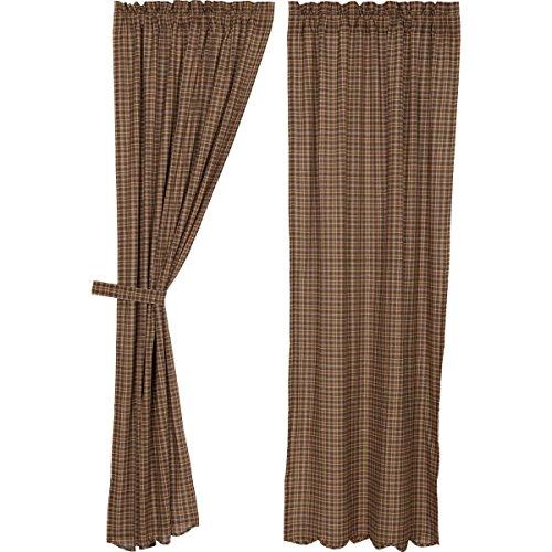 VHC Brands Rustic Prescott Rod Pocket Cotton Tie Back(s) Plaid Curtain, Panel Set 84x40, Brown