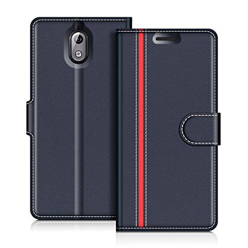 COODIO Handyhülle für Nokia 3.1 Handy Hülle, Nokia 3.1 Hülle Leder Handytasche für Nokia 3.1 Klapphülle Tasche, Dunkel Blau/Rot