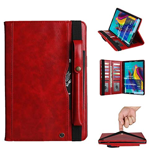 YANCAI Case Cover Crazy Horse Texture Horizontal Flip Leather Case for Galaxy Tab S 5E 10.5 / T720 / T725, with Double-row Card Slots & Pen Slot & Holder & Wallet (Color : Red)