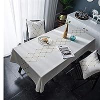 テーブルクロス 北欧リネン幾何刺繍防水テーブルクロス長方形のダイニングテーブルクロス、ゴールデンスクエアテーブルカバーを去ります (Color : Show 1, Specification : 135x250cm)