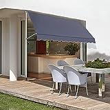 Toldo de Sujeción de 3 x 1,15 m, Toldo de Terraza, Protección Solar Retráctil, Resistente al Agua, a los Rayos UV, al Viento, al Polvo,para Patio, Balcón, Tienda