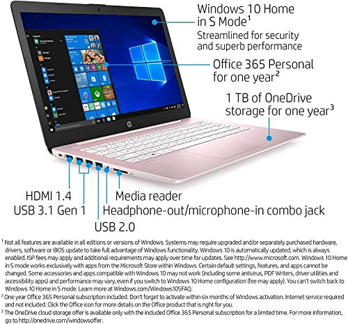 "51MyrzwkGVL. SL500 2021 HP Stream 14"" HD Thin and Light Laptop, Intel Celeron N4000 Processor, 4GB RAM, 64GB eMMC, HDMI, Webcam, WiFi, Bluetooth, 1 Year Office 365, Windows 10 S, Rose Pink"