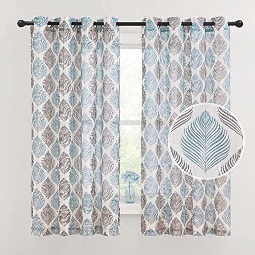 NICETOWN Linen Sheer Curtains for Privacy Protection with Blue & Black Leaves Pattern, Grommet Top Countryside Light Filter Draperies for Bedroom, 50W by 63L, Set of 2