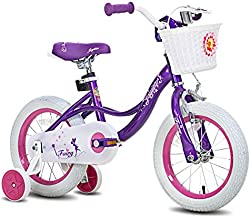 JOYSTAR 14 Inch Kids Bike for Ages 3 4 5 Years Girls, Toddler Bike with Training Wheels for 3-5 Years Old Child, Purple