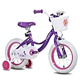 JOYSTAR 18 Inch Kids Bike for Girls, Child Bicycle for 5 6 7 8 9 Years Old, Kids Bicycle with Basket & Training Wheels, Kids Cycle, Purple