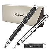 Pelikan Schreibset PURA Schwarz-Silber mit persönlicher Laser-Gravur Kugelschreiber und Füllfederhalter