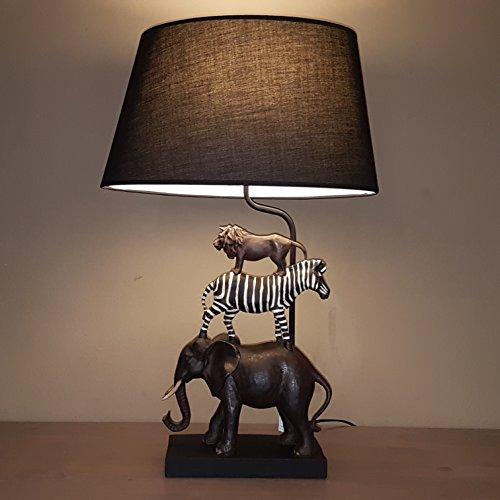 Tischleuchte Afrika - Tischlampe mit Tiermotiven und schwarzem Lampenschirm - ca. 70 cm hoch