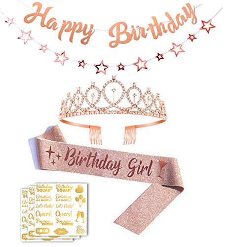 Peicci 7 Pieces Rose Gold Birthday Party Decorations Accessories Birthday Sash Rose Gold Happy Birthday Banner Accessories for Birthday Party Birthday Tiara Rhinestone Crown