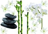 Plage Decoración Adhesiva Bambús, Orquídeas y Piedras, Vinilo, Multicolor, 21x29.6 cm