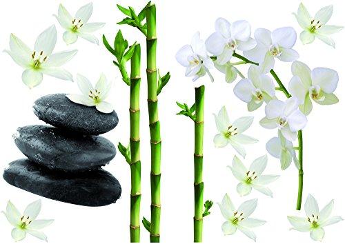 Décoration adhésive Bambous/Orchidées et Galets, Polyvinyle, Multicolore, 21 x 0,1 x 29,6 cm 157170