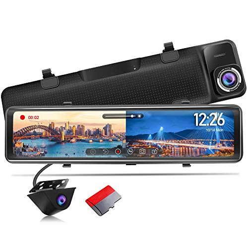 PORMIDO Mirror Dash Cam Backup Camera 12 inch Large Full Touch Split Screen Front and Rear View Camera 1296P HD Waterproof Back up Car Camera