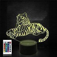 3Dタイガーライトアニマル3Dスライドナイトライトリモコン付き16色タッチスイッチデスクランプクリスマス誕生日おもちゃベビー保育園ギフト3Dプリント高品質LEDナイトライト装飾ライト