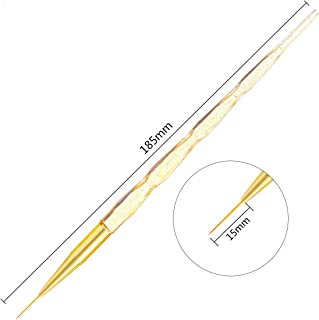 6/8/12/15/20Mm Nail Art French Stripes Lines Liner Painting Brush Crystal Handle Pattern DIY Drawing Pen Manicure Tools 15mm Yellow