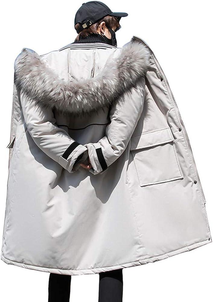 Down Jacket Winter Cotton Jacket, Men's Thicken Medium Long Hooded, Outdoor Winter Clothing, Material: Polyester Fiber/Filling: Imitation Silk Cotton Gray