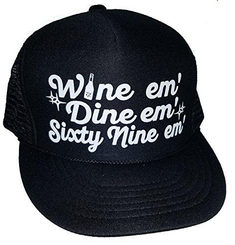Wine Em Dine 69 Mesh Trucker Hat Cap Sex (Black)