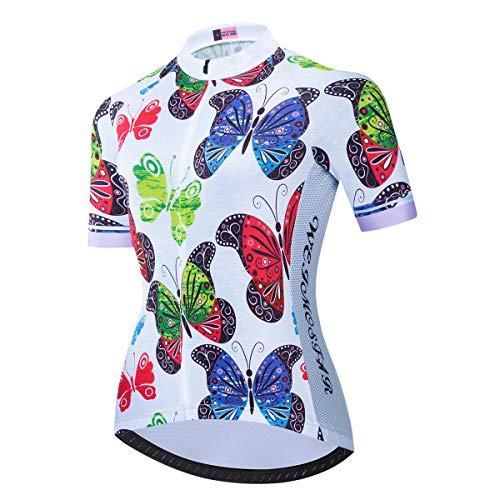 PSPORT Fahrradtrikot für Damen, Sommer, kurzärmelig, atmungsaktiv, Mountainbike-Kleidung, schnell trocknend