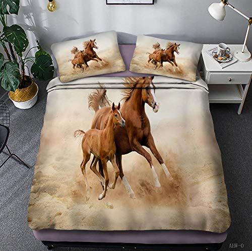 LJJYF 3D Printed Polyester Cotton Horse Series Bedding Set, Double Duvet Cover and Pillowcase, Children's Bedroom, Super King-R_135*200cm(2pcs)