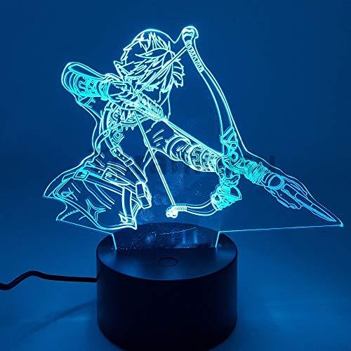 Zelda Atem der wilden Actionfigur 3D Nachtlichter LED Ändern Anime Link Zelda 3D Beleuchtung Spielzeug Figur