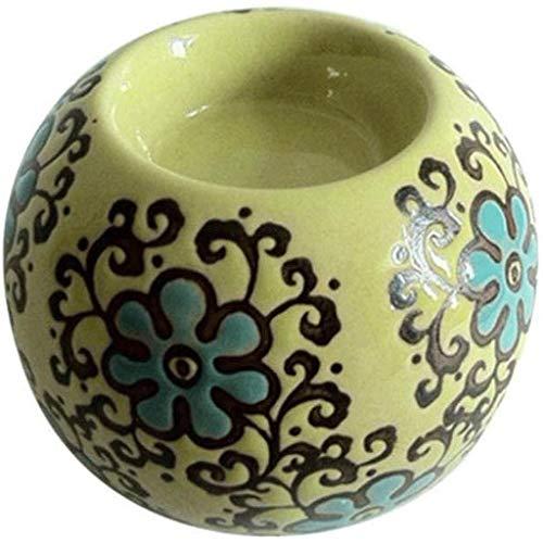 WALNUTA Ornamento de cerámica de cerámica clásico Bar Vela del Vidrio cristalino Titular Boda del Partido de la decoración del hogar de la palmatoria (Color : Green)