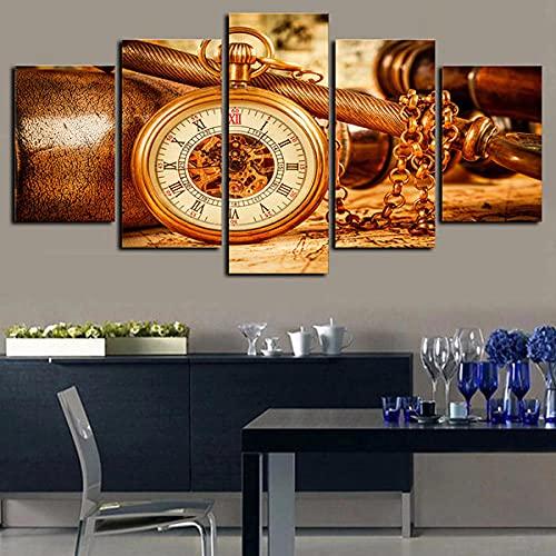 IIIUHU 5 Piezas Cuadro sobre Lienzo De Fotos Reloj Espacial Lienzo Impresión Cuadros Decoracion Salon Grandes Cuadros para Dormitorios Modernos Mural Pared Listo para Colgar