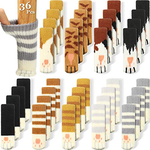 36 Pieces (9 Sets) Cat Furniture Socks Cat Paw Chair Leg Socks Knitted Furniture Socks Non Slip Chair Table Leg Floor Protectors Furniture Table Feet Covers Elastic Furniture Socks Pads