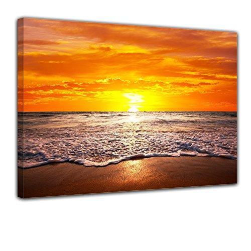 Bilderdepot24 Bild auf Leinwand | Strand Sonnenuntergang I in 70x50 cm als Wandbild | Wand-deko Dekoration Wohnung modern Bilder | 170511