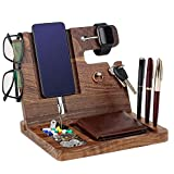 Wood Docking Station for Men - Custom Engraved Nightstand Organizer, Nightstand with Phone Stand, Key Stand, Wallet, Watch, for Boyfriend, Husband, Dad, Son(Ebony)