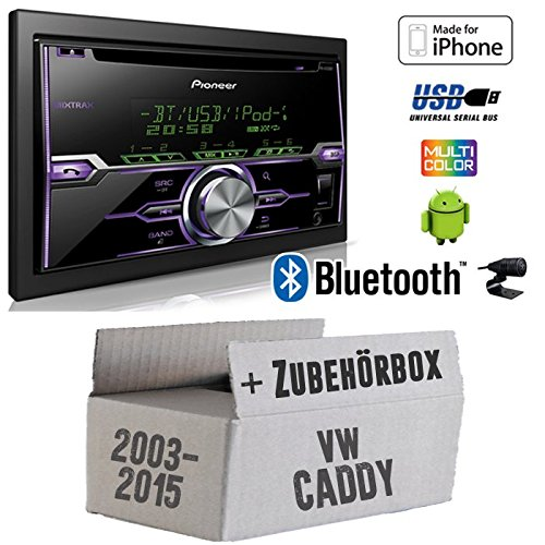 Radio Pioneer FH-X720BT USB Bluetooth CD Autoradio Android iPod/iPhone-Direktsteuerung - Einbauset für VW Caddy 2K - JUST SOUND best choice for caraudio