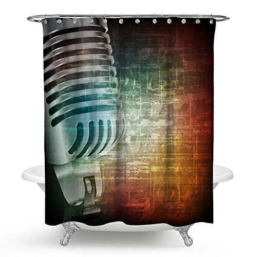 kisy Musik Wasserdicht Bad Duschvorhang kreative Art Musical Instruments Elektretmikrofon Badezimmer Dusche Vorhang Standard Größe 177,8x 177,8cm schwarz grün