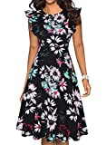 IHOT Women's Vintage Ruffle Floral Flared A Line Swing Casual Cocktail Party Dresses with Pockets Black Green