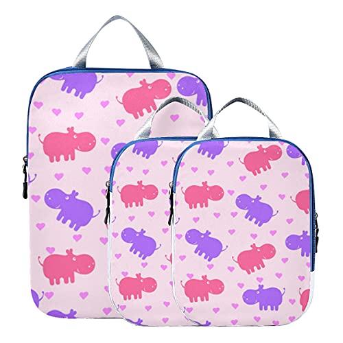 Accesorios de viaje Cubos de embalaje Criatura acuática Animal lindo Hipopótamo Cubo de embalaje de compresión Organizador de equipaje expandible para equipaje de mano, viaje (juego de 3)