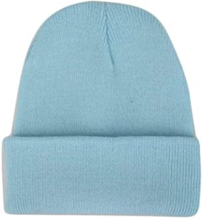Mini personality baseball cap Popular colorful candy coat of neutral hat knitted hat hip-hop hat cap warm winter squid solid elastic Ms. Men (Color : Light Blue, Size : One Size)