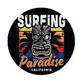 AEMAPE Reloj de Pared Grande Vintage Colorido Surfing Paradise Hawaiian Tribal Tradicional Máscara Tiki y Palmera Reloj Redondo Digital