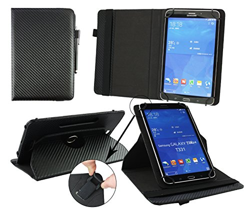 emartbuy® Medion Lifetab P10325 Tablet PC 10.1 Zoll Universal (9-10 Zoll) Schwarz Carbon 360GradrotierendeStandFolioGeldbörseTascheHülle + Schwarz Eingabestift
