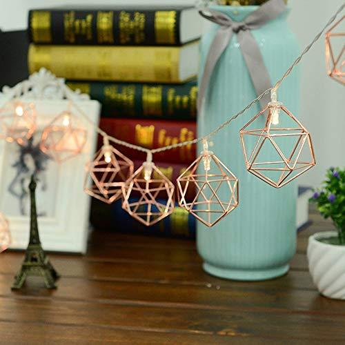 Wankd Vintage Lampenschirm Lichterketten, 10 LEDs Rosé Gold Metall Polygon Laterne Käfig Geometrisches Lichter Batteriebetriebene für Home Patio Garten Hochzeit, 1,5M