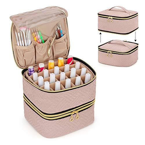 Luxja Nagellack Tasche Organizer, Aufbewahrungstasche für 40 Nagellackflaschen (bis zu 15 ml) und Nageldesign Zubehör, Doppelschicht Kosmetiktasche für Nagel Gel Sets, Rosa