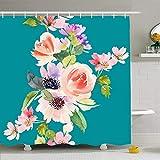 Tenda per la doccia per il bagno Rosa Fiori di bellezza Casuali Acquerelli Colori delicati Natura Giallo Fioritura Fioritura Bouquet Mazzo Casual Impermeabile Tessuto in poliestere Decorazioni da bagn