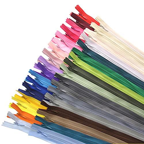 Nothers Cerniere in Nylon,50 Pezzi Cerniere Lampo Multicolore Cerniere Cucito per Abbigliamento Artigianato 25 Colori 11 Pollici/28 cm