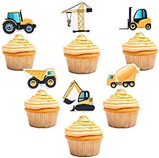 Construction Cupcake Toppers Dump Truck Tractor Excavator Car Decorations for Kids Birthday Party Supplies Cake Picks 48pcs